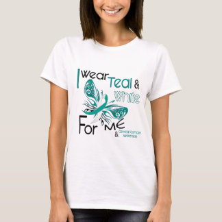 CERVICAL CANCER I Wear Teal and White For ME 45 T-Shirt