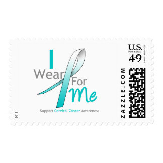 CERVICAL CANCER I Wear Teal and White FOR ME Postage Stamps