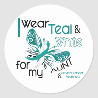 CERVICAL CANCER I Wear Teal and White For My Aunt Classic Round Sticker
