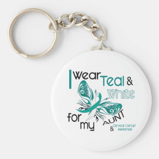 CERVICAL CANCER I Wear Teal and White For My Aunt Keychain