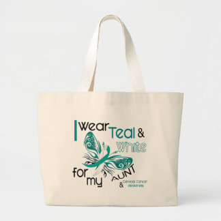 CERVICAL CANCER I Wear Teal and White For My Aunt Large Tote Bag