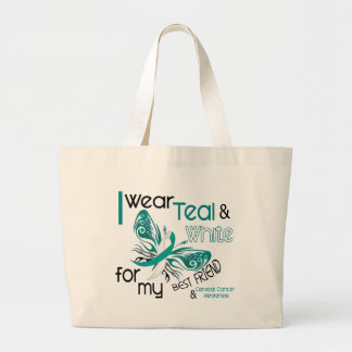 CERVICAL CANCER I Wear Teal and White For My Best Large Tote Bag