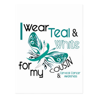 CERVICAL CANCER I Wear Teal and White For My Cousi Postcard