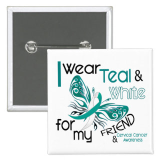 CERVICAL CANCER I Wear Teal and White For My Frien 2 Inch Square Button