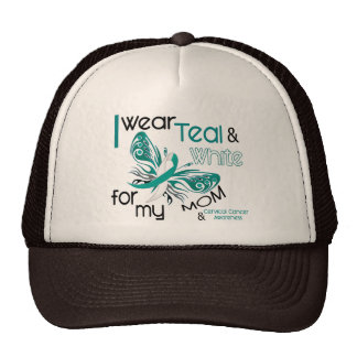 CERVICAL CANCER I Wear Teal and White For My Mom Mesh Hats