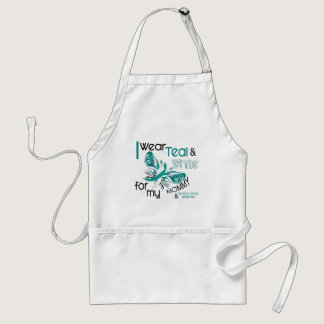 CERVICAL CANCER I Wear Teal and White For My Mommy Adult Apron