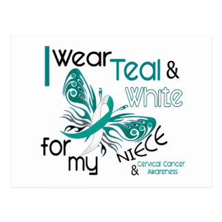 CERVICAL CANCER I Wear Teal and White For My Niece Postcard