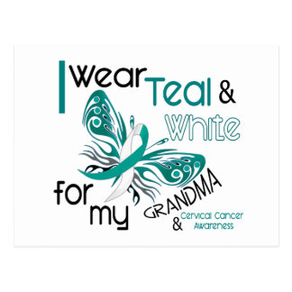 CERVICAL CANCER I Wear Teal and White Grandma 45 Postcard