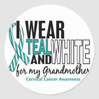 CERVICAL CANCER I Wear Teal White For Grandmother Classic Round Sticker