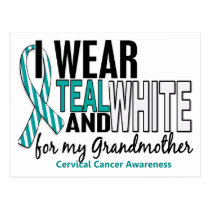 CERVICAL CANCER I Wear Teal White For Grandmother Postcard