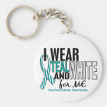 CERVICAL CANCER I Wear Teal & White For ME 10 Key Chain