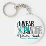 CERVICAL CANCER I Wear Teal & White For My Aunt 10 Keychain