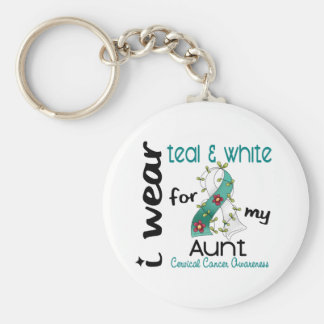 Cervical Cancer I Wear Teal & White For My Aunt 43 Keychain