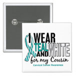 CERVICAL CANCER I Wear Teal & White For My Cousin Button