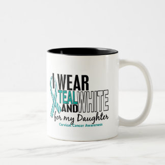 CERVICAL CANCER I Wear Teal White For My Daughter Two-Tone Coffee Mug