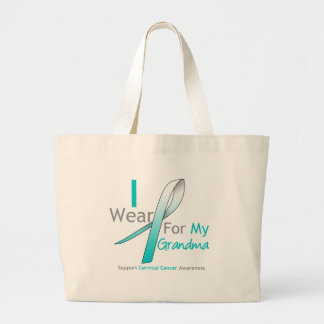Cervical Cancer I Wear Teal & White For My Grandma Jumbo Tote Bag
