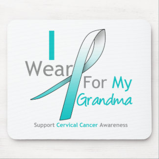 Cervical Cancer I Wear Teal & White For My Grandma Mouse Pad