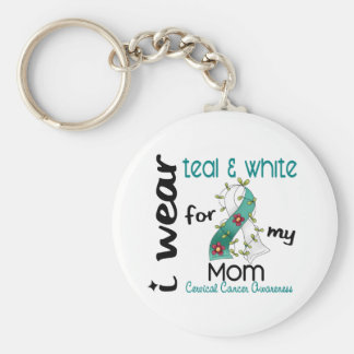 Cervical Cancer I Wear Teal & White For My Mom 43 Keychain