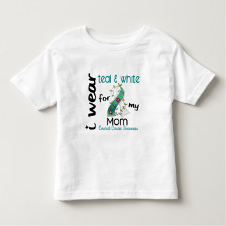 Cervical Cancer I Wear Teal & White For My Mom 43 T-shirts