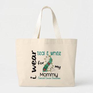 Cervical Cancer I Wear Teal & White For My Mommy 4 Large Tote Bag