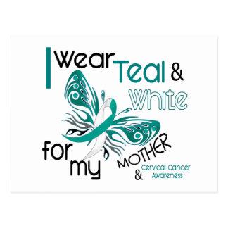 CERVICAL CANCER I Wear Teal White For My Mother 45 Postcard