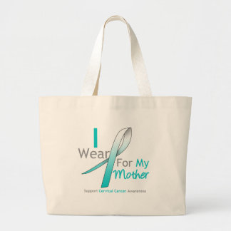 Cervical Cancer I Wear Teal & White For My Mother Jumbo Tote Bag