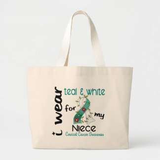 Cervical Cancer I Wear Teal & White For My Niece 4 Large Tote Bag