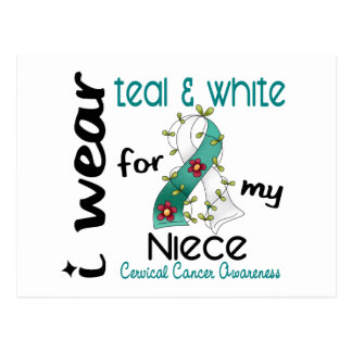 Cervical Cancer I Wear Teal & White For My Niece 4 Postcard