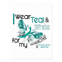 CERVICAL CANCER I Wear Teal White Grandmother 45 Postcard