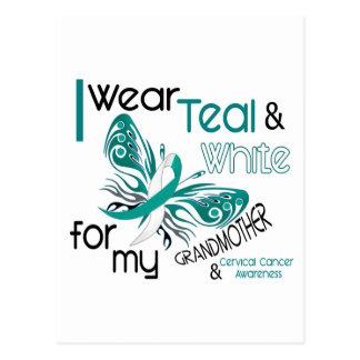CERVICAL CANCER I Wear Teal White Grandmother 45 Postcard