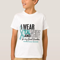 CERVICAL CANCER I Wear Teal White Great Grandma T-Shirt