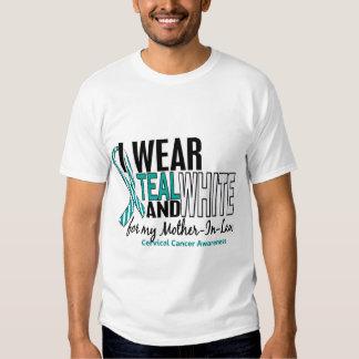 CERVICAL CANCER I Wear Teal White Mother-In-Law 10 T-shirt