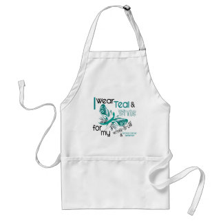 CERVICAL CANCER I Wear Teal White Mother-In-Law Adult Apron