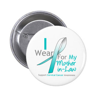 Cervical Cancer I Wear Teal & White Mother-in-Law Pins