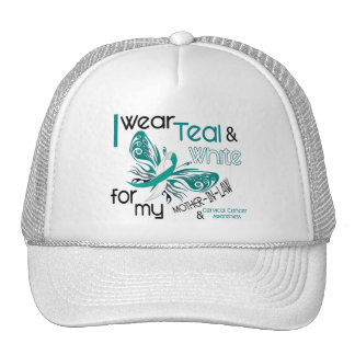 CERVICAL CANCER I Wear Teal White Mother-In-Law Mesh Hats