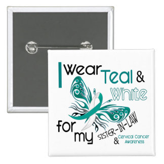 CERVICAL CANCER I Wear Teal White Sister-In-Law 2 Inch Square Button
