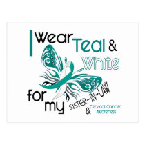 CERVICAL CANCER I Wear Teal White Sister-In-Law Postcard
