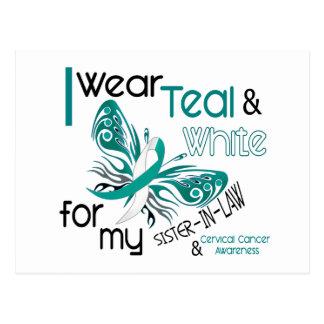 CERVICAL CANCER I Wear Teal White Sister-In-Law Postcard