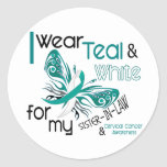 CERVICAL CANCER I Wear Teal White Sister-In-Law Round Sticker