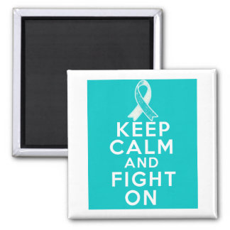 Cervical Cancer Keep Calm and Fight On 2 Inch Square Magnet