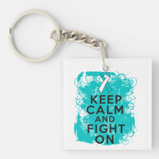 Cervical Cancer Keep Calm and Fight On Single-Sided Square Acrylic Keychain