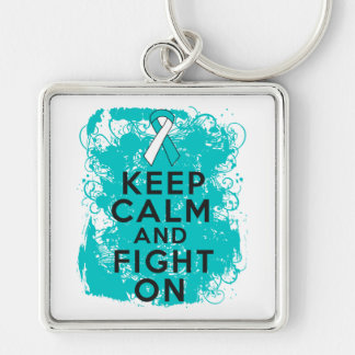Cervical Cancer Keep Calm and Fight On Silver-Colored Square Keychain