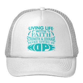 Cervical Cancer Living Life with Faith Trucker Hats