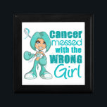 "Cervical Cancer Messed With Wrong Girl Keepsake Box<br><div class=""desc"">Cervical Cancer Shirts,  Hoodies,  Tank Tops,  and Merchandise Featuring Cartoon Girl