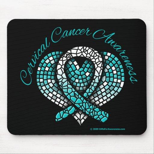 Cervical Cancer Mosaic Heart Ribbon Mousepads