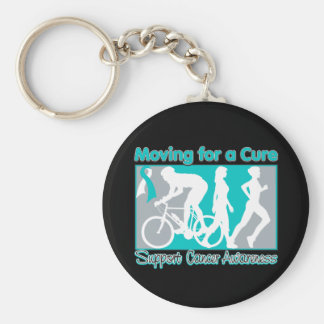 Cervical Cancer Moving For A Cure Basic Round Button Keychain