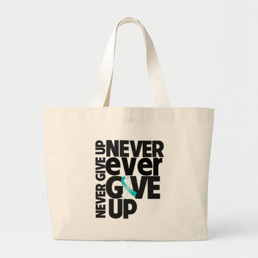 Cervical Cancer Never Ever Give Up Canvas Bags