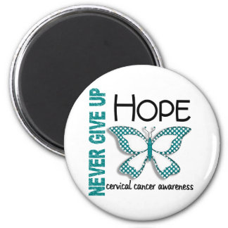 Cervical Cancer Never Give Up Hope Butterfly 4.1 2 Inch Round Magnet