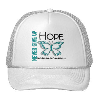Cervical Cancer Never Give Up Hope Butterfly 4.1 Hats