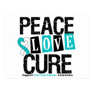 Cervical Cancer Peace Love Cure Postcard